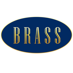 BRASS logo navy and gold