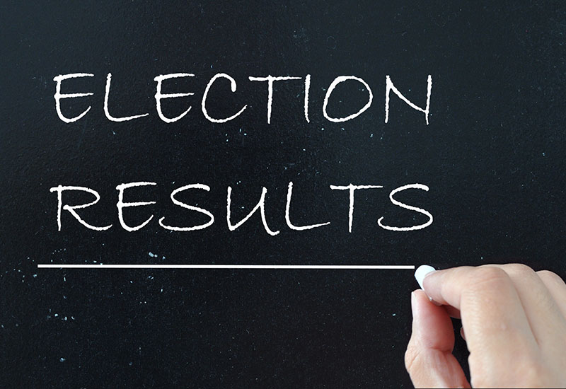 election results written on chalk board
