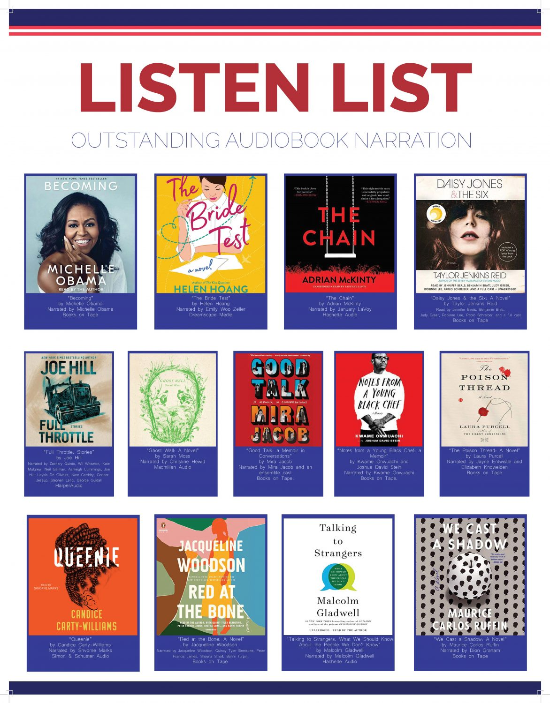 2020 Listen List: Outstanding Audiobook Narration for Adult Listeners revealed